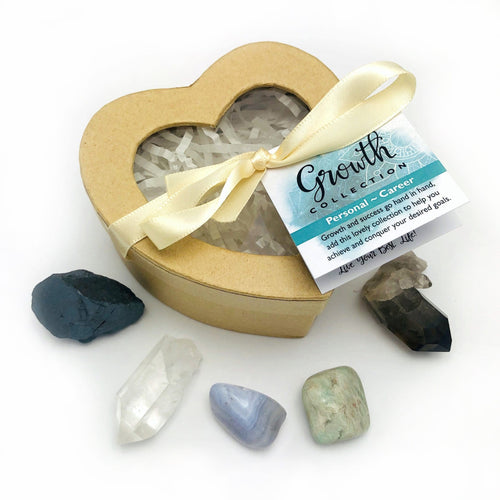 Crystal Healing Growth Set of Stones in Heart Shaped Box
