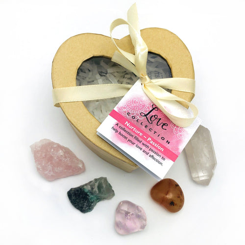 Crystal Healing Love Set of Stones in Heart Shaped Box