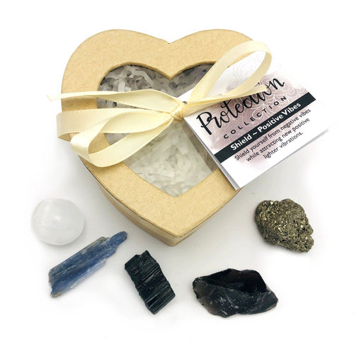Crystal Healing Protection Set of Stones in Heart Shaped Box