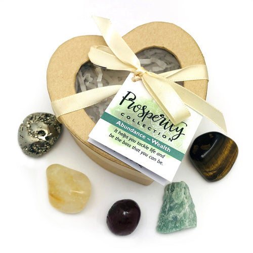 Crystal Healing Prosperity Set of Stones in Heart Shaped Box