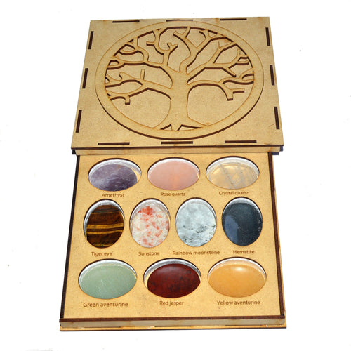 Mixed Worry Stones Box - 10 Assorted Thumb Stones - Chakra - (WRYBOX-SET)