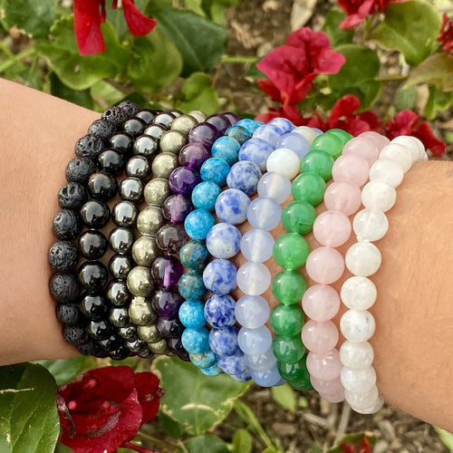 Gemstone Mala Beaded Stretch Bracelet (RK70)