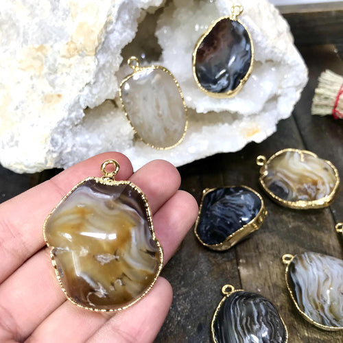 Enhydro Agate Pendants Gold Plated (RK3000-B5-04)