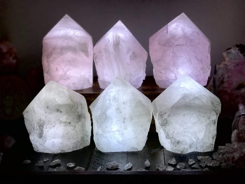 Rose Quartz and Crystal Lamps (HW4-18) (HW4-17)