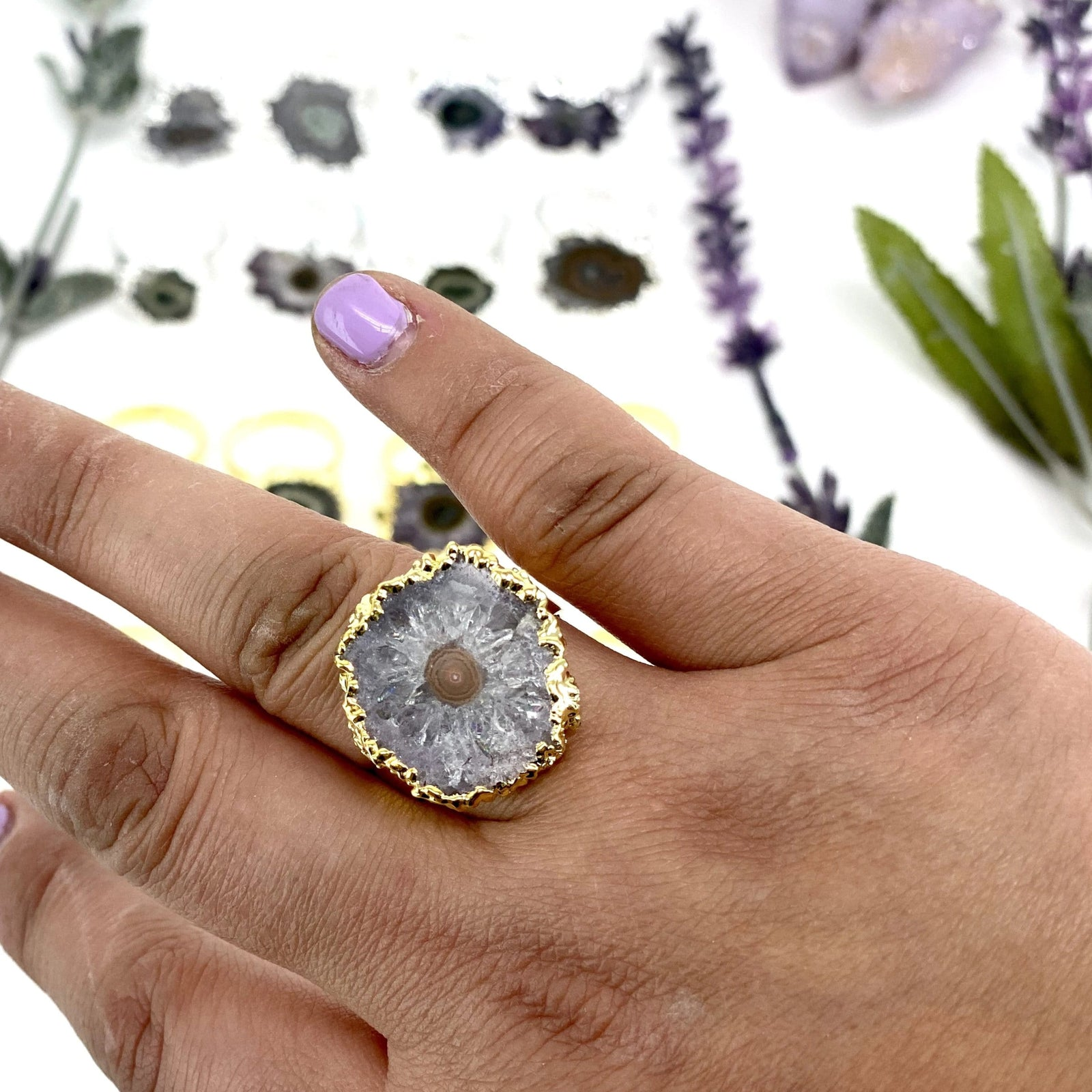 Amethyst Stalactite Adjustable Ring Electroplated 24k Gold or Silver (RK94b23)