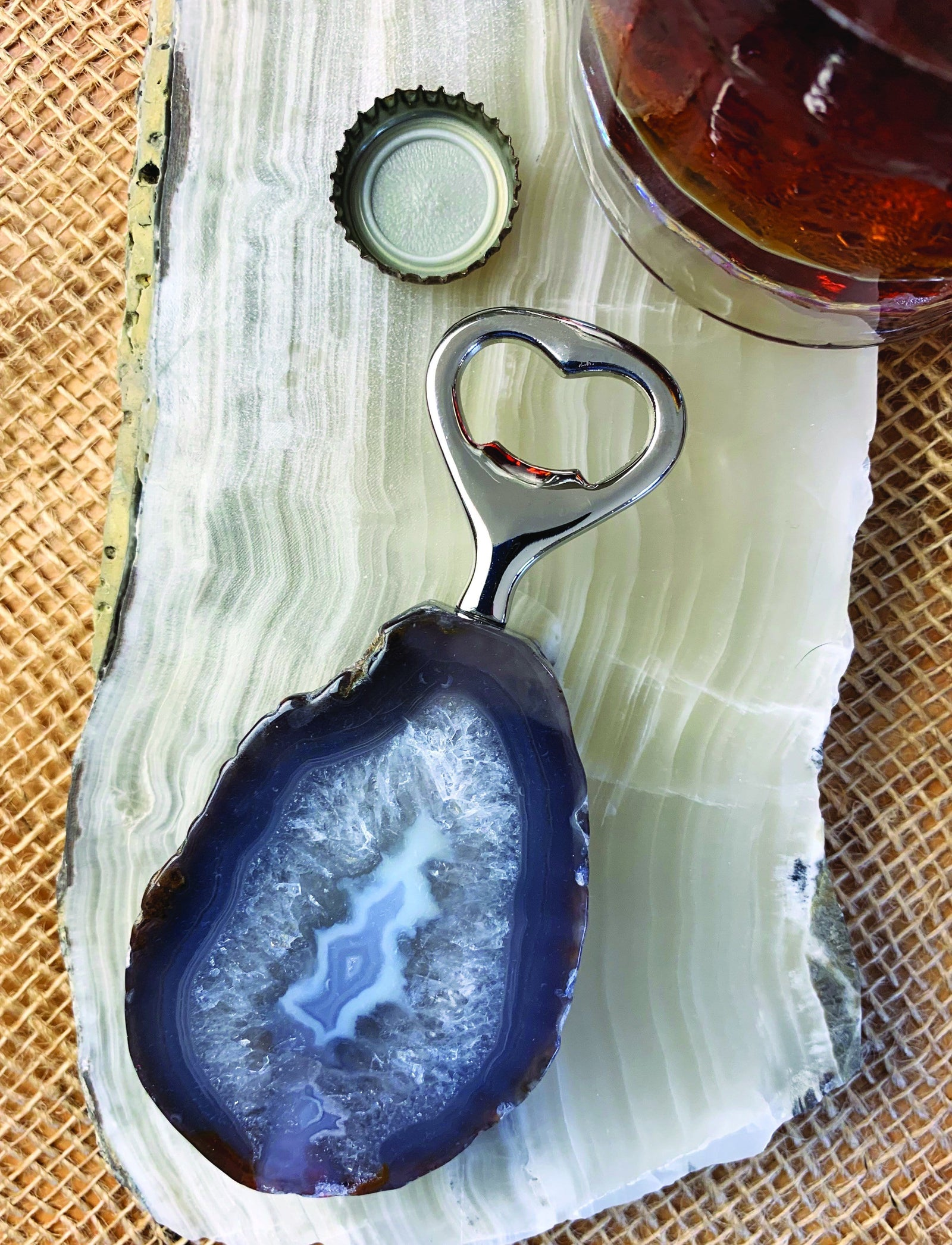 Agate Bottle Opener - Agate Cutlery- Crystal Collection - Feng Shui (RK118B2)