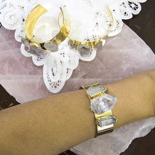 Clear Quartz - Three Point Bracelet 24k Gold Electroplated -  (RK118B1)