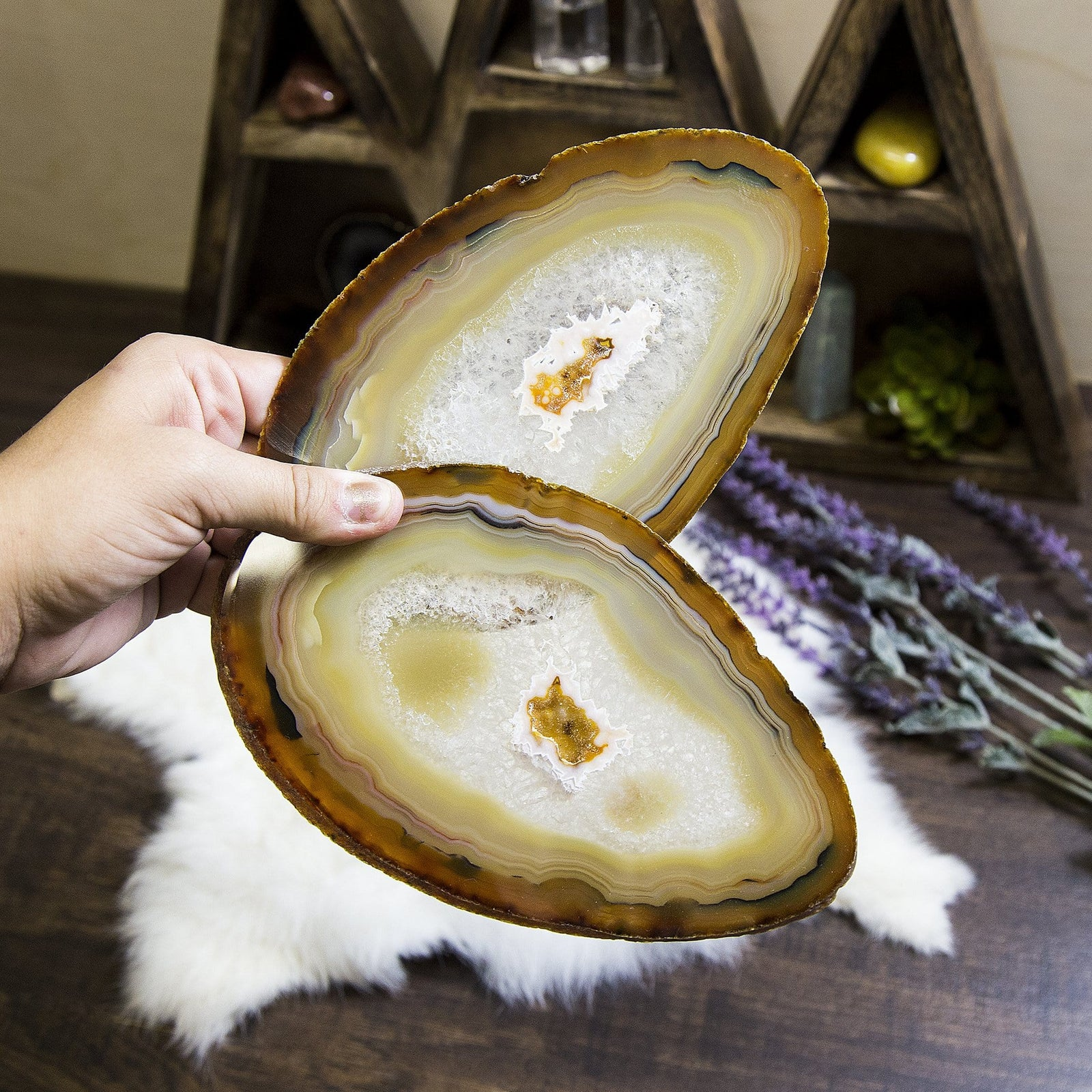 2 pcs Natural Agate Slices - Set of TWO Agate with Markings - Crystal Collection (RK129B11-04)