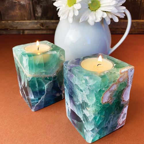 Fluorite Candle Holder - Amazing Colors - Cube Tea Light (RK801B20)
