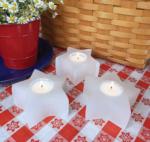 Selenite Star Shaped Candle Holders (RK71B11-01)