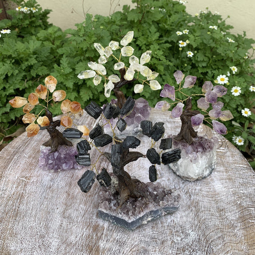 Stone Tree on Amethyst Base - Home Decor - CHOOSE your Crystal (HW)