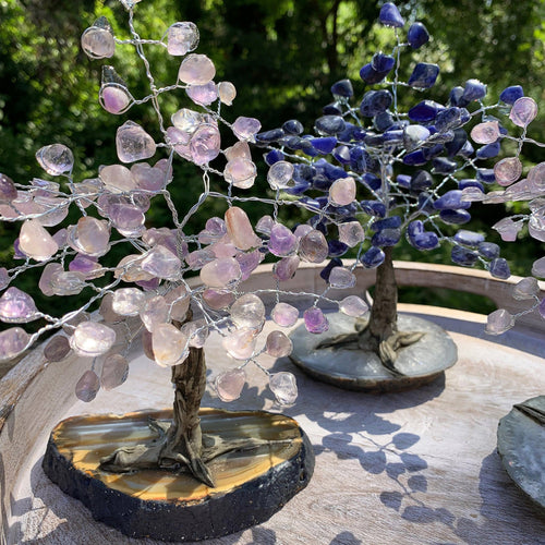 Stone Tree  - Tumbled Stone Trees on Agate Slab - Home Decor (HW2)