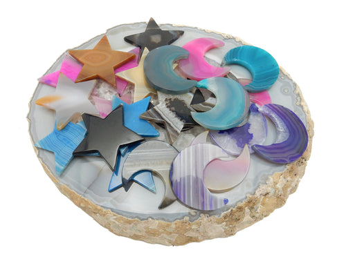 Agate - Agate Slice Or Star Moon Cabochon - Colorful Stars And Moons - Dyed Agates - YOU CHOOSE Your Color - Undrilled (RK39B6b)