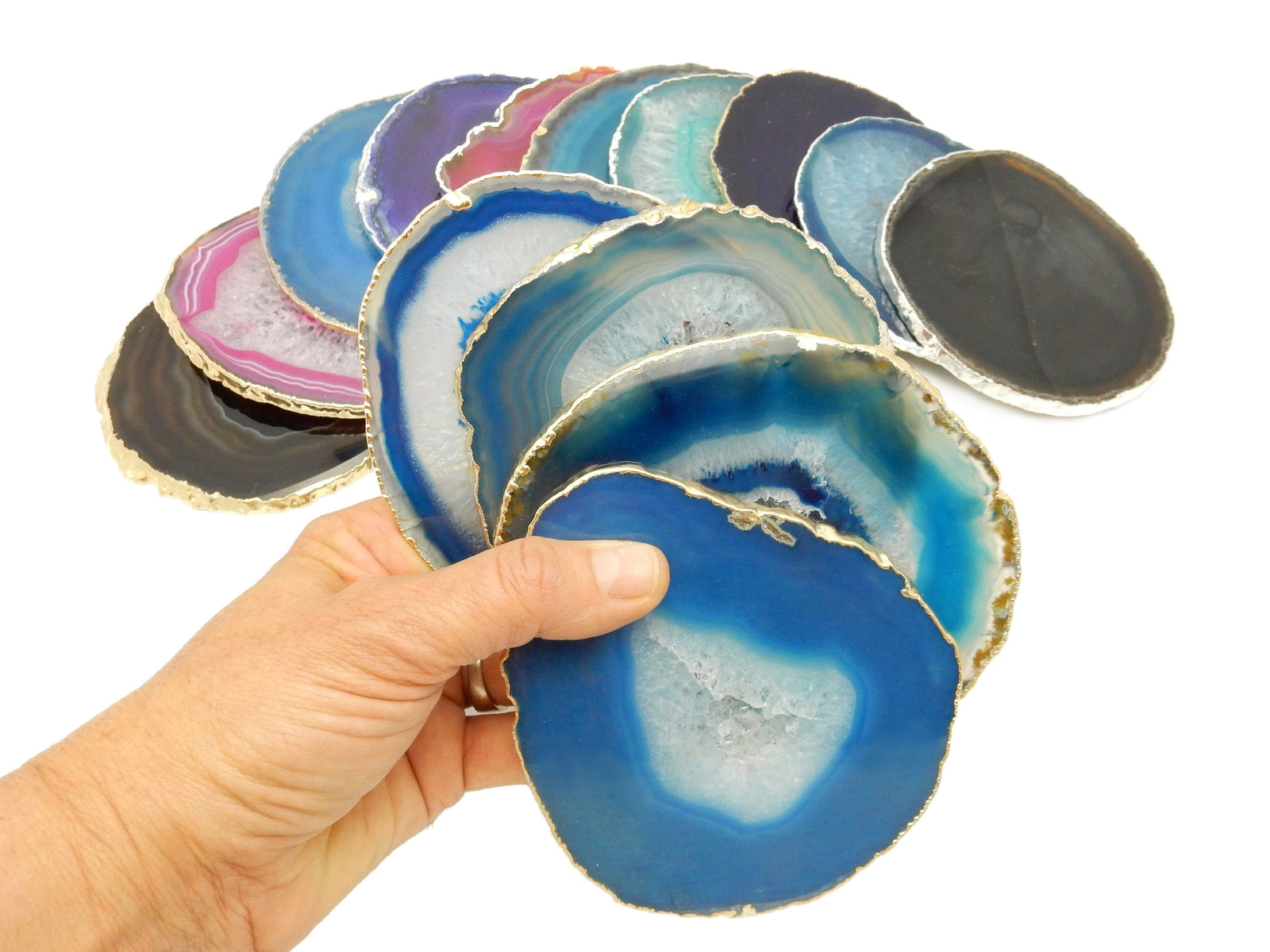 Agate Coasters - Agate Coasters 24k Gold Or Silver Electroplated Edges - Coaster Size (OB4)
