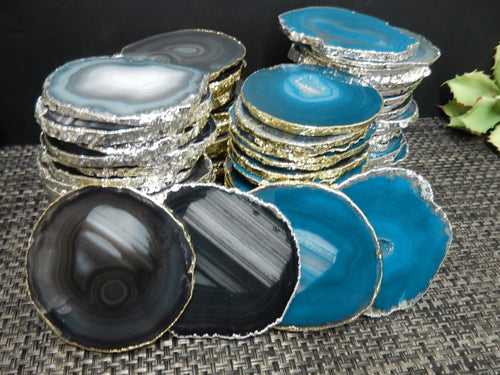 Agate Slices - Agate Slice Small Silver Or Gold Electroplated Edges - Home And Wedding Decor - 1, 5, Or 10 Pcs. Teal Or Black - YOU CHOOSE  (OB9)