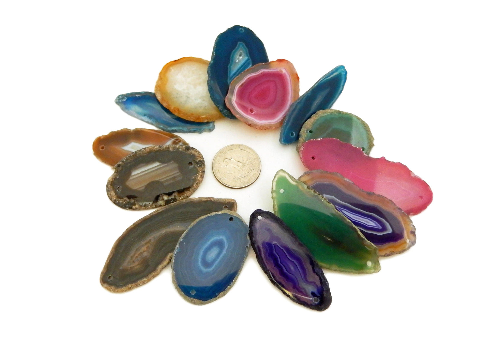Agate Slices - Agate Slices Double Drilled - Crafts And Jewelry Supplies - Pendant Setting - Arts And Crafts - Choose Color And Qty (AGTDD)