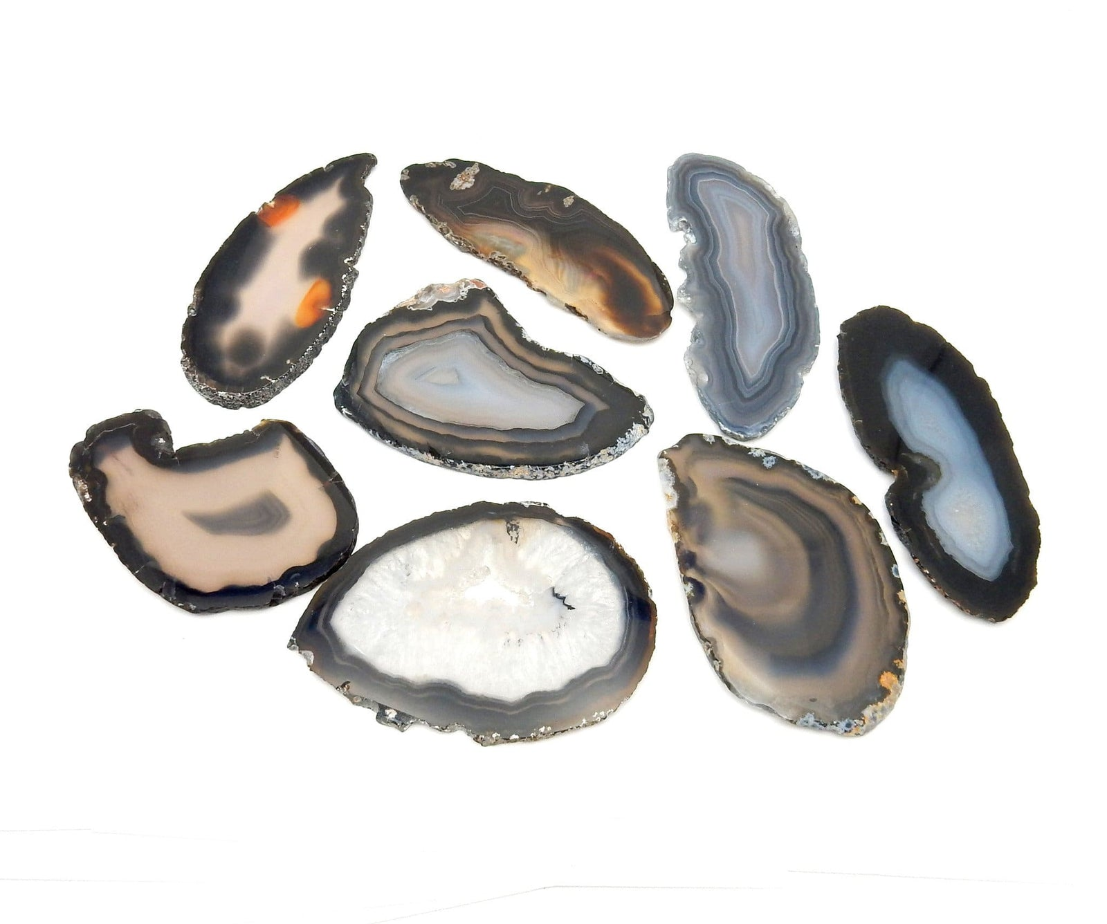 Agate Slices - Black Agate Slice - Large Pendant Size - Agate Slices #0 - Great For Jewelry (AGBS)