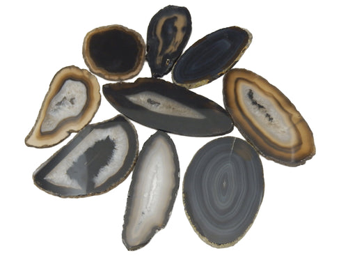 Agate Slices - Black Agate Slice - Large Pendant Size - Agate Slices #1 - Great For Jewelry (AGBS)