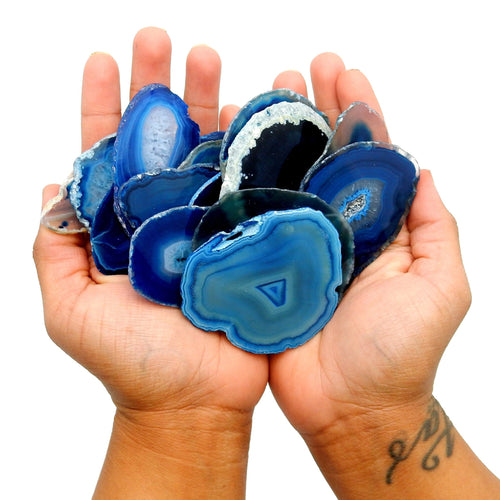 Agate Slices - Blue Agate Slice - Large Pendant Size - Agate Slices #1 - Great For Jewelry (AGBS)