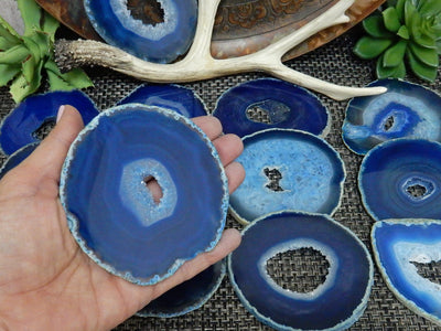 Agate Slices - Blue Agate Slices - Extra Grade Polished Agate - Coaster Size With Open Druzy Center - Gorgeous Sparkle And Markings!