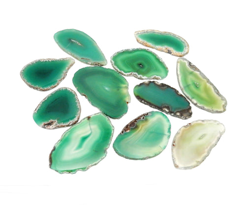Agate Slices - Green Agate Slice - Large Pendant Size - Agate Slices #0 - Great For Jewelry (AGBS)