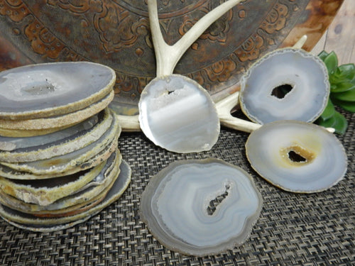 Agate Slices - Natural Agate Slices - Extra Grade Polished Agate - Coaster Size With Open Druzy Center - Gorgeous Sparkle And Markings!