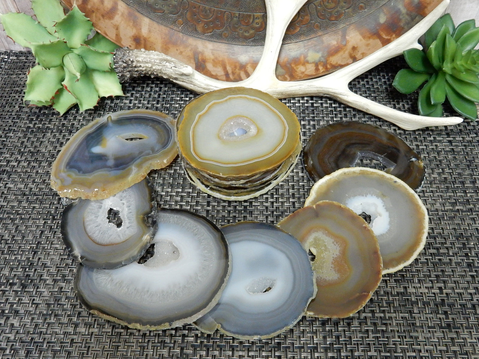Agate Slices - Natural Dark Agate Slices - Extra Grade Polished Agate - Coaster Size With Open Druzy Center - Gorgeous Sparkle And Markings!