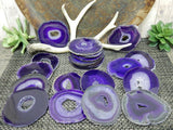 Agate Slices - Purple Agate Slices - Extra Grade Polished Agate - Coaster Size With Open Druzy Center - Gorgeous Sparkle And Markings!