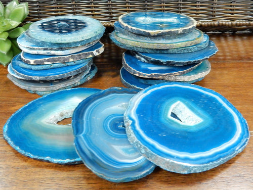 Agate Slices - Teal Agate Slices - Extra Grade Polished Agate - Coaster Size With Open Druzy Center - Gorgeous Sparkle And Markings!