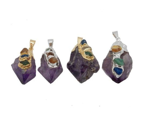 Amethyst - Amethyst Point Pendant With Gemstone Accents And 24k Gold Or Silver Cap And Edge (S130B3)