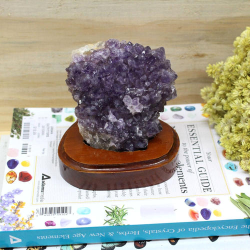 Amethyst - Amethyst Specimen On Wooden Base - Amethyst Cluster - Spiritual Gift - Raw Amethyst - Crystal Decor