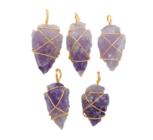 Amethyst Arrowhead Pendant Wire Wrapped Gold Tone Arrow Head Charm (RK40B2b)
