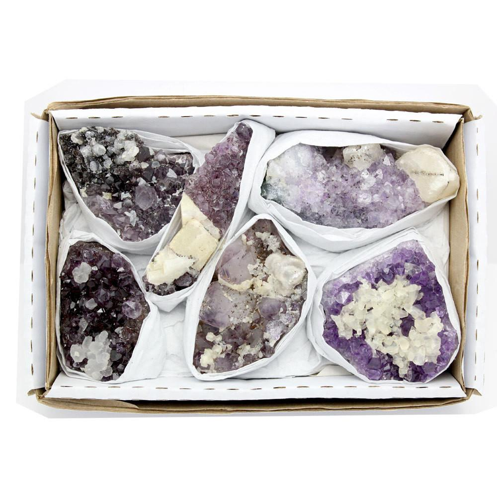 Amethyst Druzy Cluster Amethyst Clusters With Calcite Approx 1.5-2lbs  & 6 Pieces - RK52B-07