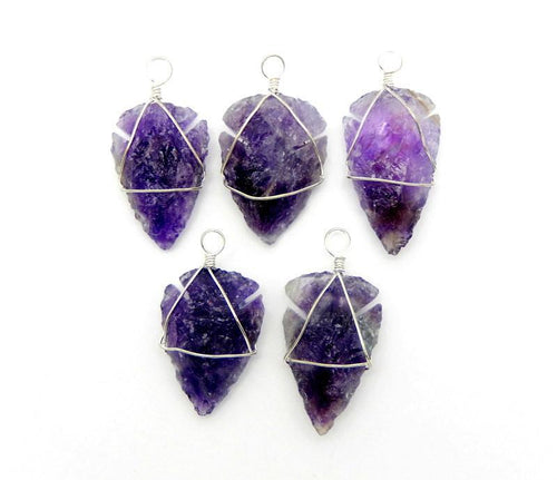 Arrow Heads - Amethyst Arrowhead Pendant Wire Wrapped Silver Tone Arrow Head Birthstone (RK165B3)