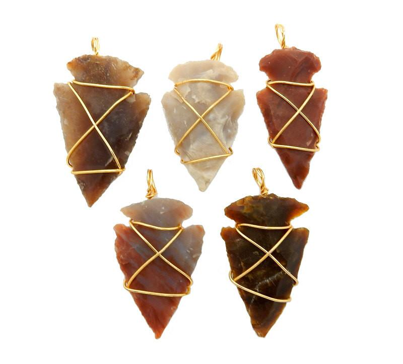 Arrow Heads - Arrowhead Pendant - Jasper Wire Wrapped Gold Tone (RK40B5b)
