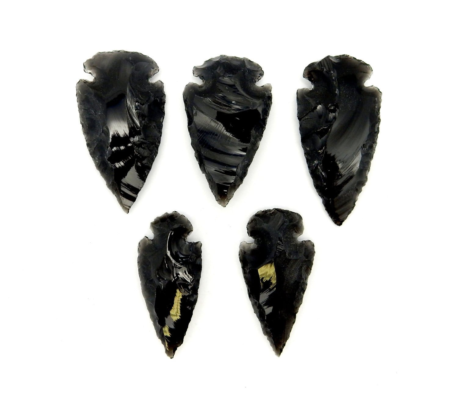 "Arrow Heads - Black Obsidian 2"" Arrowhead Pendants - Black Obisidan Arrow Head Pendant 1, 5, 10, 25, 50 Or 100 Pieces (RK148B4)"