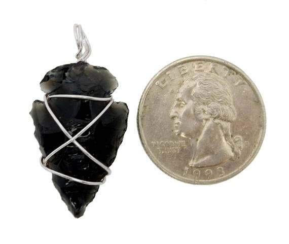 Arrow Heads - Black Obsidian Arrowhead Silver Tone Wire Wrapped RK165B4