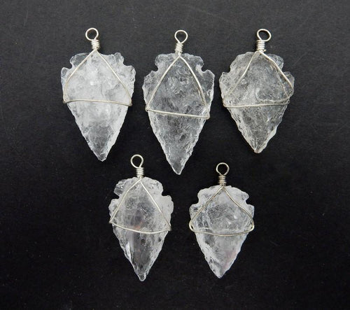 Arrow Heads - Crystal Quartz Arrowhead Pendant Wire Wrapped Silver Tone Arrow Head Charm (RK165B1)