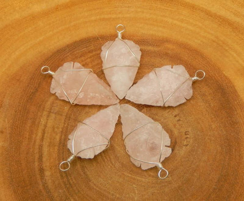 Arrow Heads - Rose Quartz Arrowhead Pendant Wire Wrapped Silver Tone Arrow Head Charm (RK165B2)