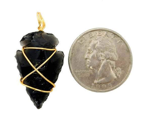 Arrowhead - Arrowhead Pendant - Black Obisidan Wire Wrapped Gold Tone (RK165b5)