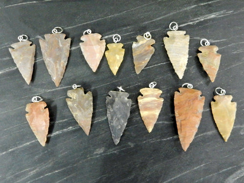 Arrowhead - Arrowhead Pendant - Jasper Arrowhead - Natural Jasper Arrow Head With Silver Tone Bail 1, 3, 5, 10, 25 Pcs (RK165B6)