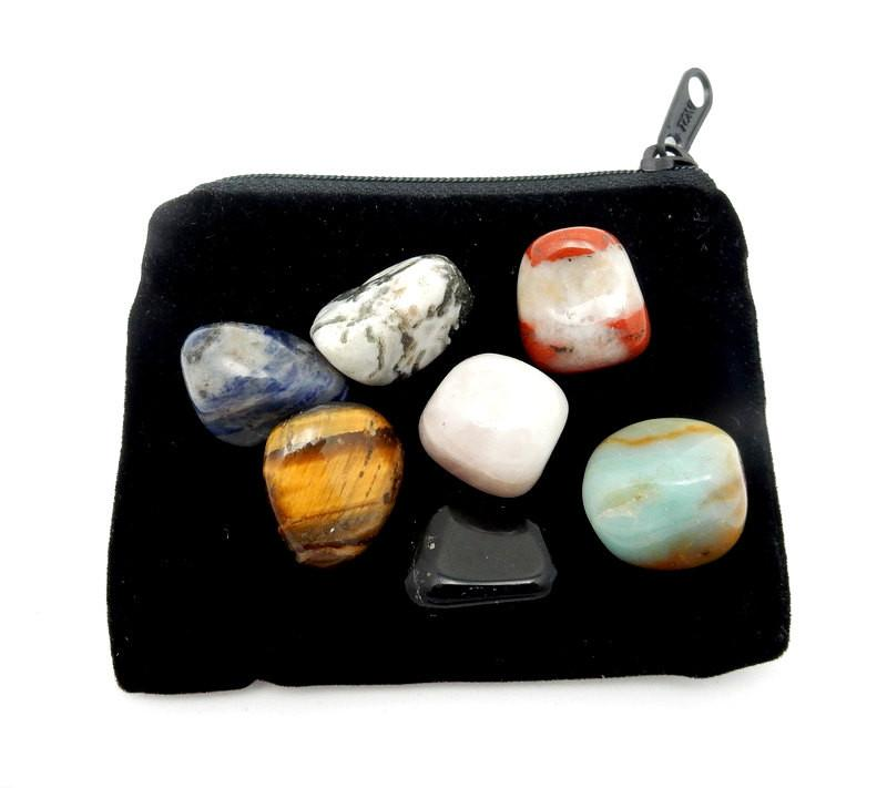 Bag - Black Velvet Gemstone Zipper Carrying Bag  - Great Gift Bag Protection For Your Stones (BR-08)