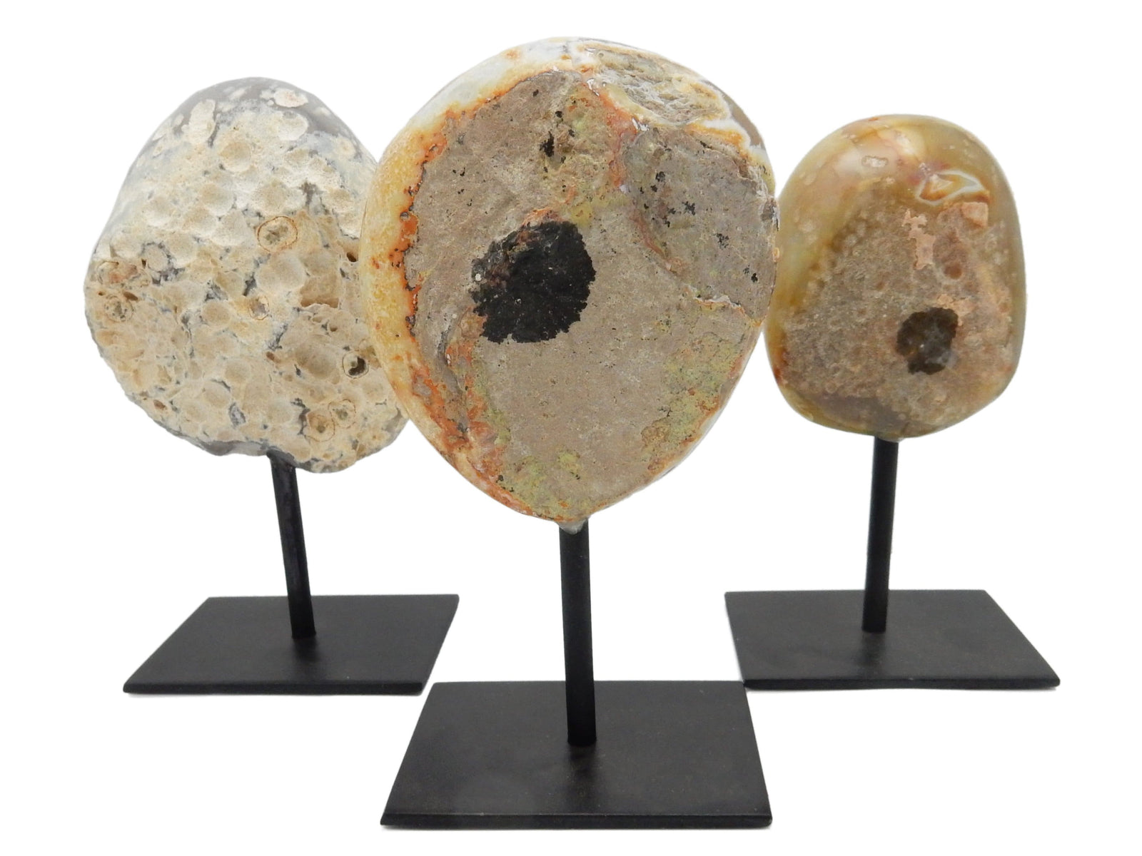 Bases & Stands - Agate Druzy Geode Metal Base Small Druzy Rock Formation - Natural Color - Home Decor - Gift - Spirituality