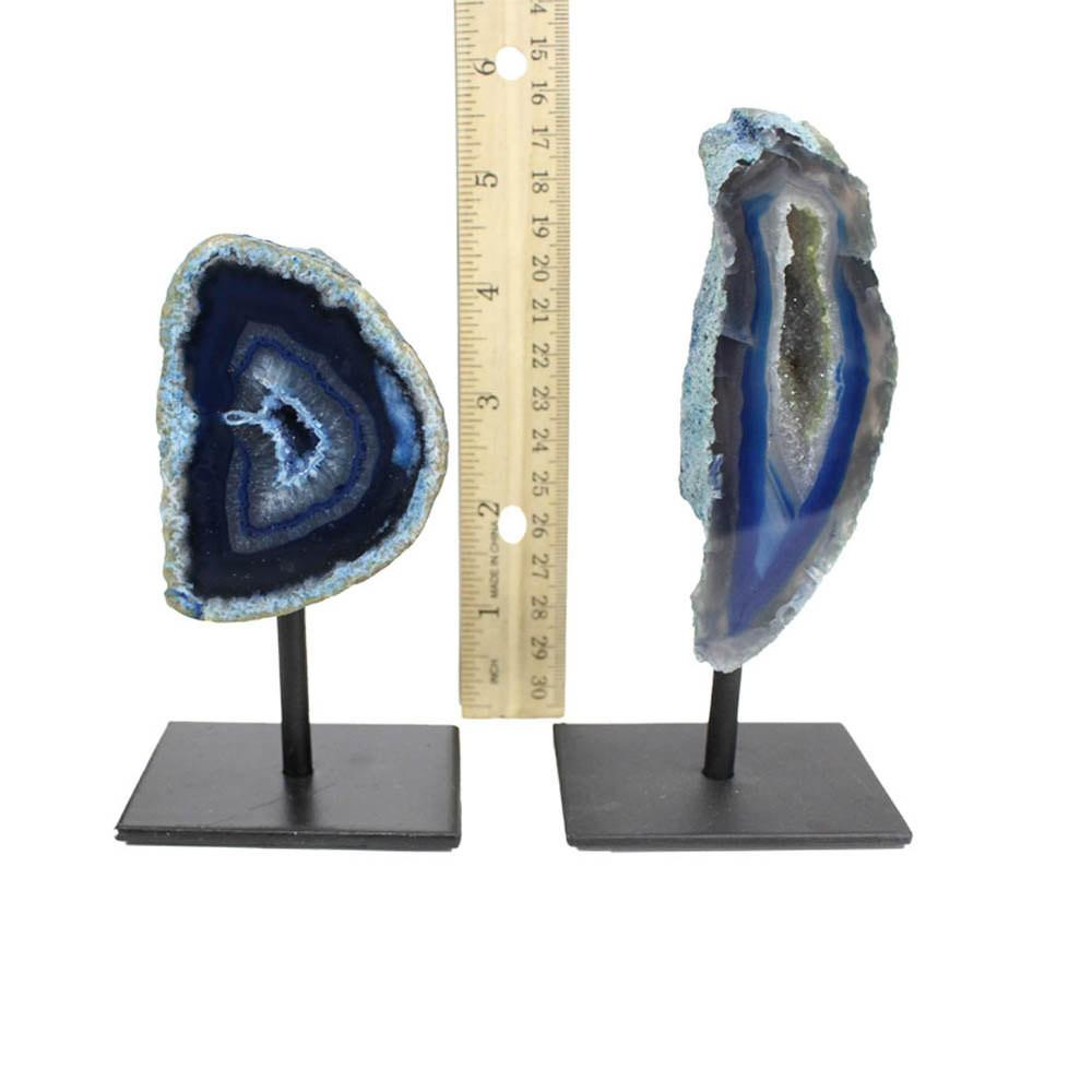 Bases & Stands - BLUE - Agate Geode Metal Base Small Druzy Rock Formation - BLUE - Home Decor - Gift - Spirituality (HW3-07)