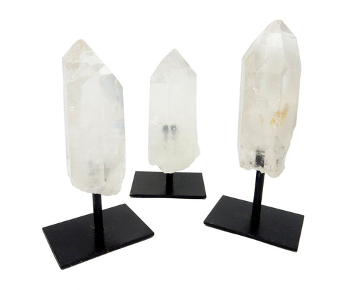 Bases & Stands - Crystal Quartz Point In Metal Base - Brazilian Crystal And Stones - Home Decor - Chakra Crystals (HW2-12)