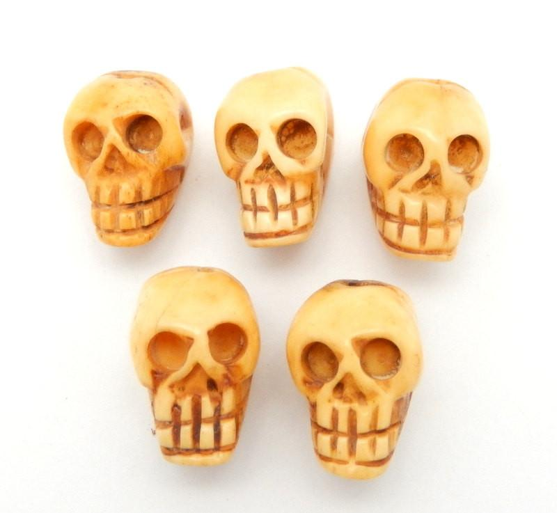 Beads - Bone Skull - Carved Bone Shaped Top Drilled Bead (RK22B7-02)