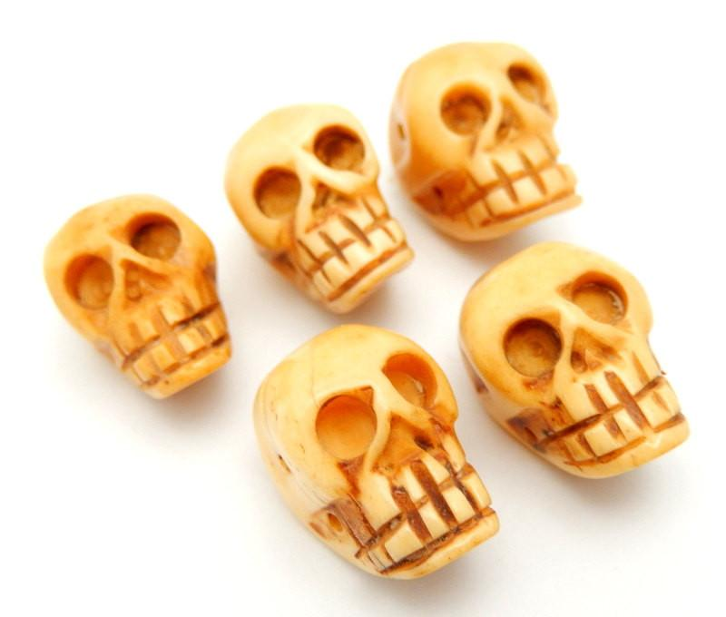 Bone Skull Carved Bone Shaped Top Drilled Bead Rk109b19 02 Rock Paradise