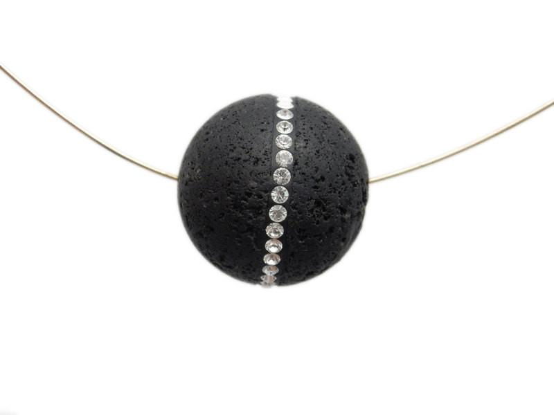 Beads - Petite Round Lava Rock Bead With CZ Rhinestone Accent Band  - Limited!! (RK3B19-03)