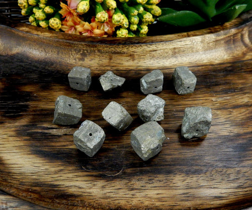 Beads - Pyrite Cube Side Drilled Bead - Bag Of 10 Pieces - (RK30B7-01)
