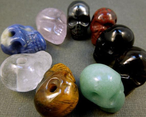 Beads - Skull Bead-- Purple Goldstone Skull Bead
